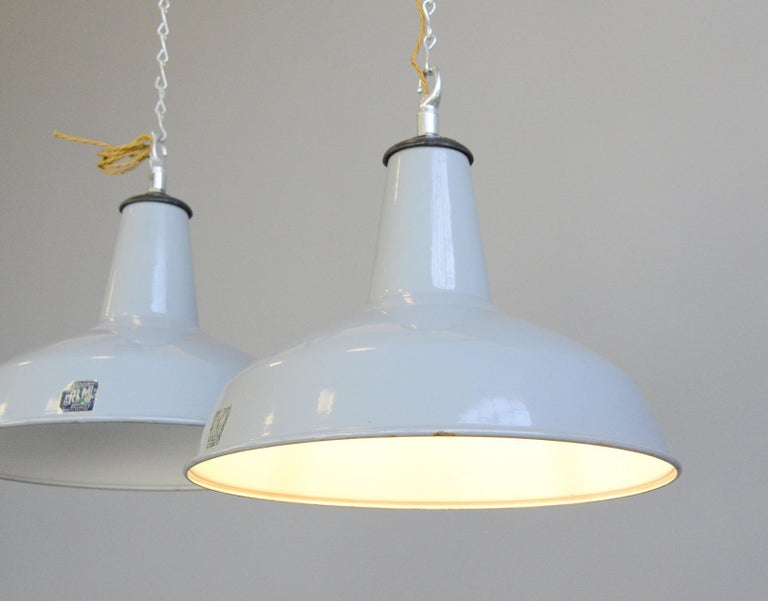 Industrial Large Grey Enamel Factory Lights By Benjamin Circa 1950s For Sale