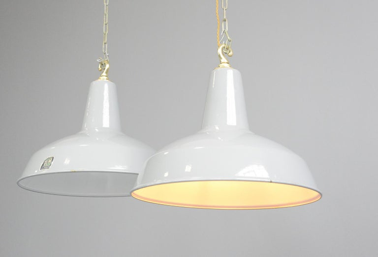English Large Grey Enamel Factory Lights by Benjamin, circa 1950s For Sale