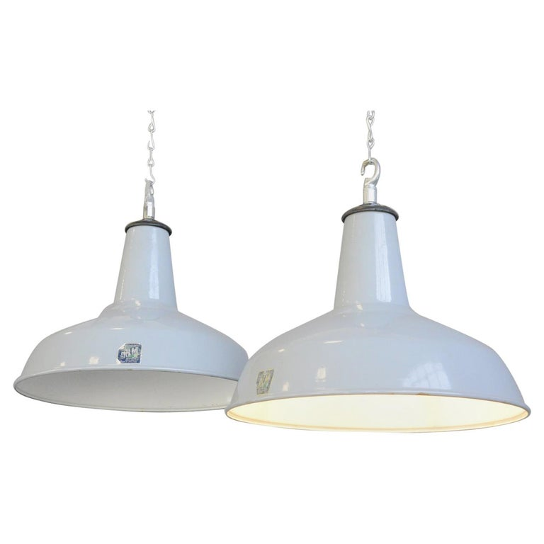 Large Grey Enamel Factory Lights By Benjamin Circa 1950s For Sale