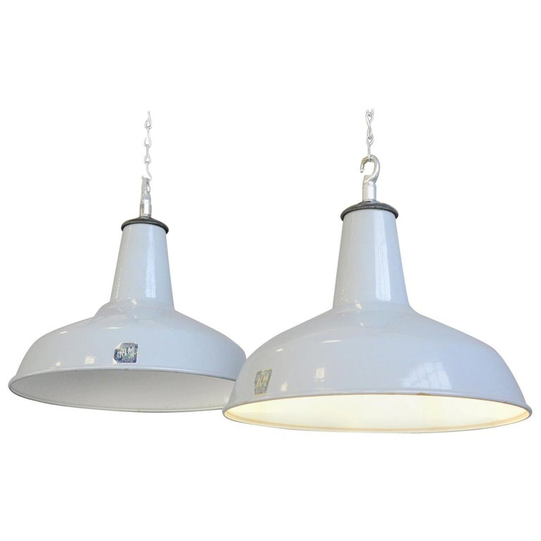 Large Grey Enamel Factory Lights by Benjamin, circa 1950s For Sale