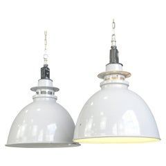 Large Grey Enamel Factory Lights by Thorlux, circa 1950s