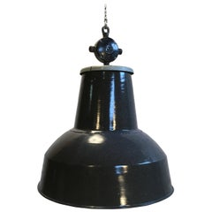 Large Grey Enamel Industrial Pendant Lamp, 1950s