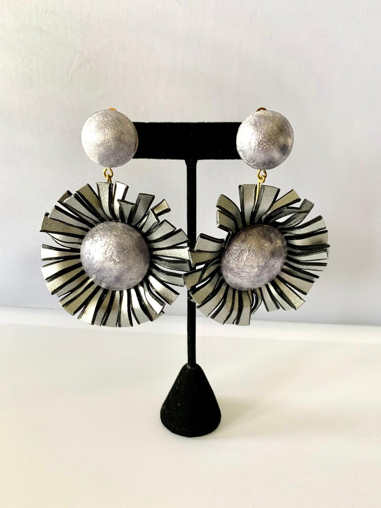 Contemporary Large Grey Flower Statement Earrings  For Sale