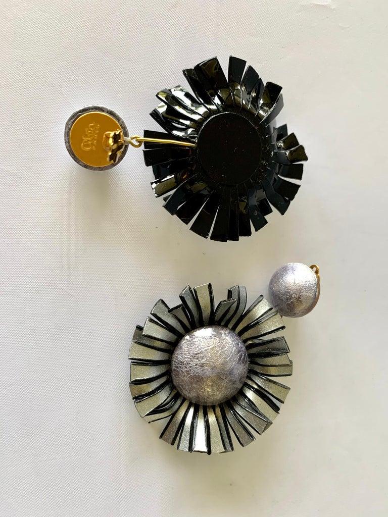 Women's Large Grey Flower Statement Earrings  For Sale