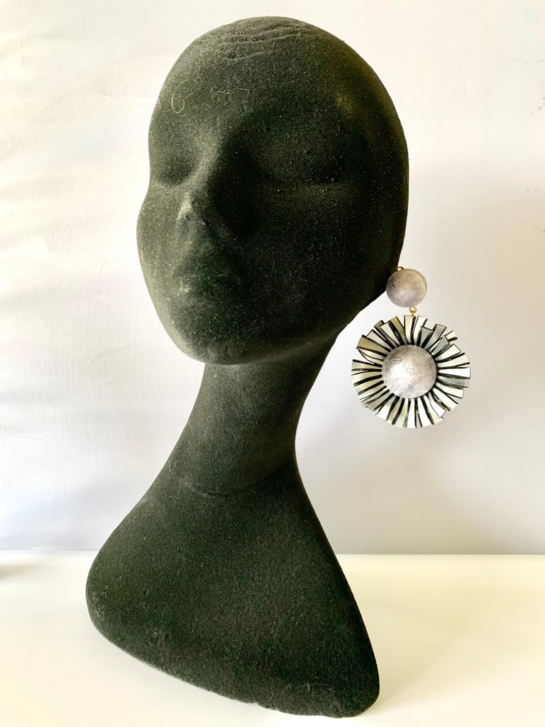 Large Grey Flower Statement Earrings  For Sale 1
