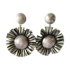 Large Grey Flower Statement Earrings