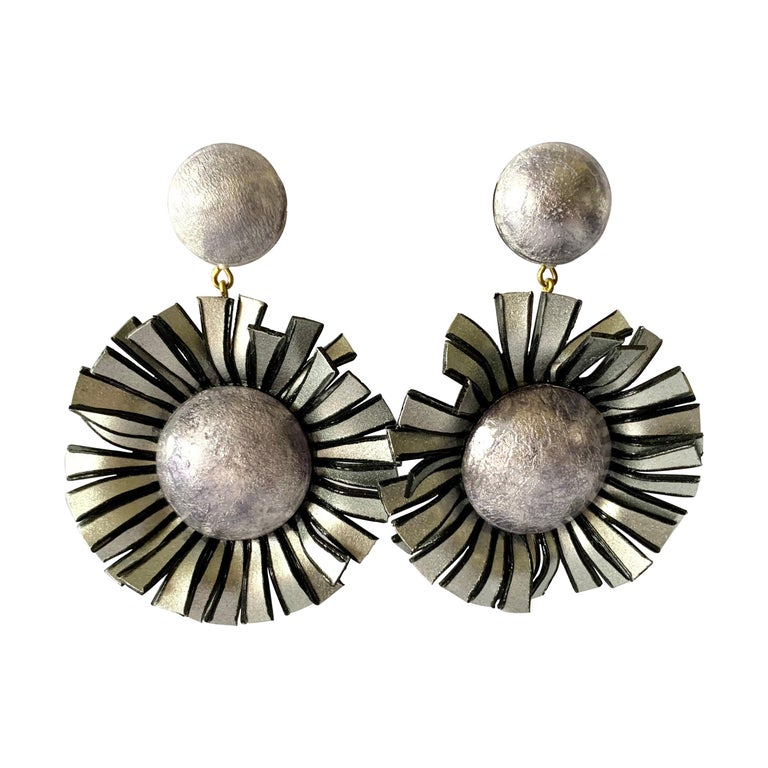 Large Grey Flower Statement Earrings  For Sale