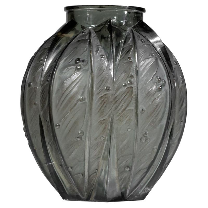 Large Grey Glass Vase by Verlys from the 1940s