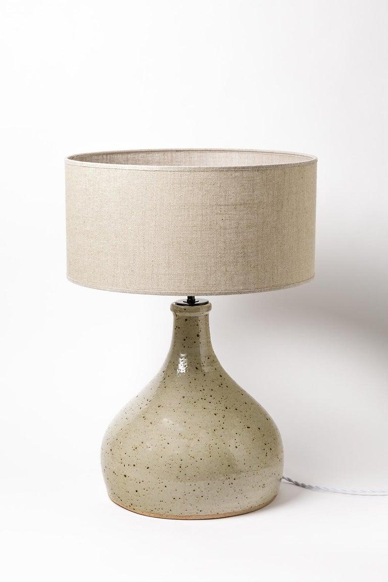 Mid-Century Modern Large grey handmade stoneware ceramic table lamp by Migeon La Borne 1979  For Sale