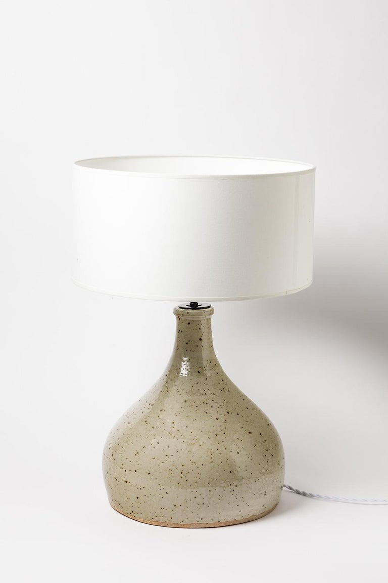 French Large grey handmade stoneware ceramic table lamp by Migeon La Borne 1979  For Sale