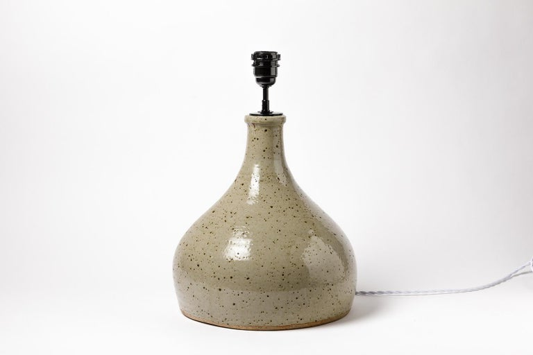 20th Century Large grey handmade stoneware ceramic table lamp by Migeon La Borne 1979  For Sale