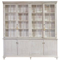 20th Century Grey-Painted Gustavian-Style Glass-Front Bookcase Cabinet, Sweden