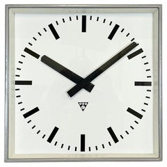 Large Grey Square Wall Clock from Pragotron, 1960s