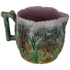 Large  Griffen,Smith&Hill Etruscan Majolica Pitcher Shell Seaweed Pattern, 10ins