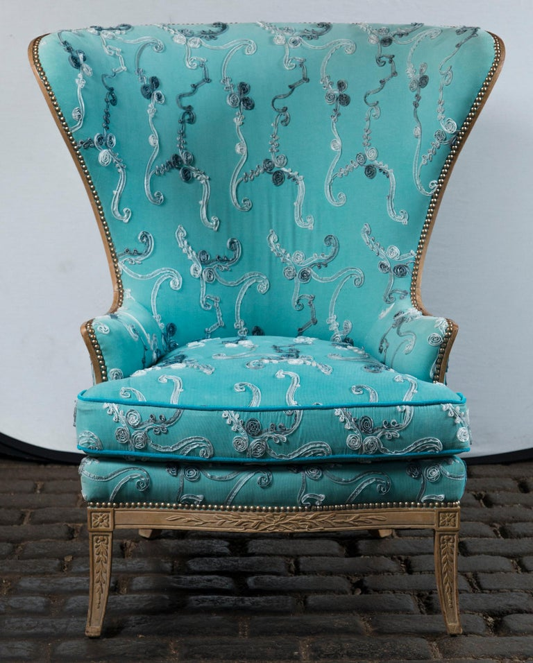 American Large Grosfeld House Wing Chair For Sale
