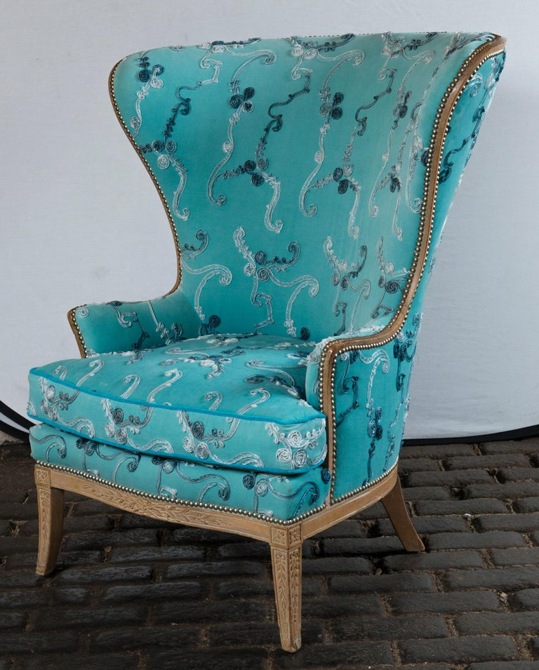 Cerused Large Grosfeld House Wing Chair For Sale