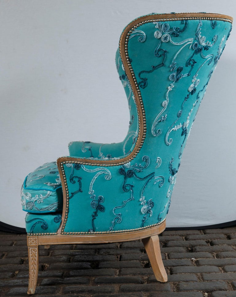 Mid-20th Century Large Grosfeld House Wing Chair For Sale