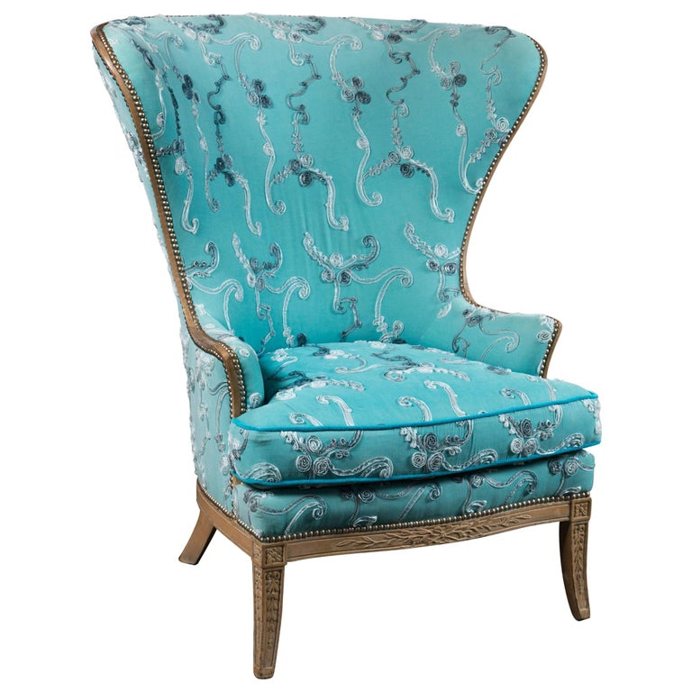 Large Grosfeld House Wing Chair For Sale