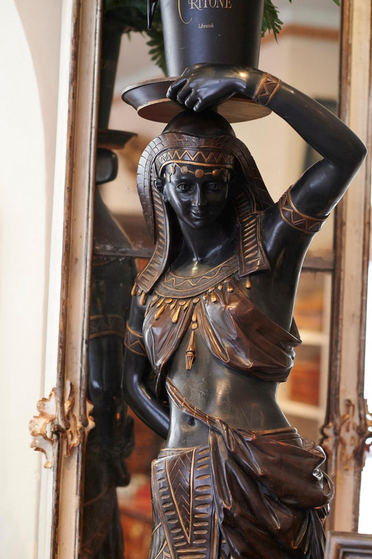 Italian Large Guéridon Sculpture of an Egyptian Woman, Venice C. 1865, Italy For Sale