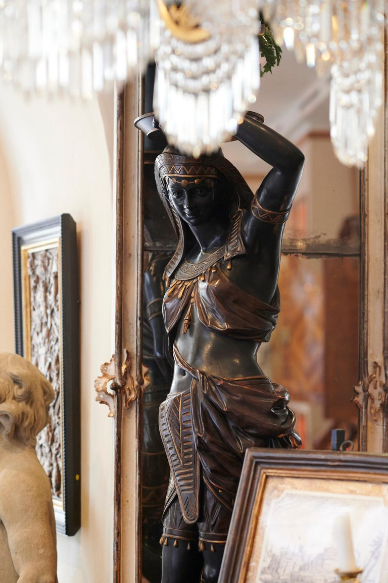 Wood Large Guéridon Sculpture of an Egyptian Woman, Venice C. 1865, Italy For Sale