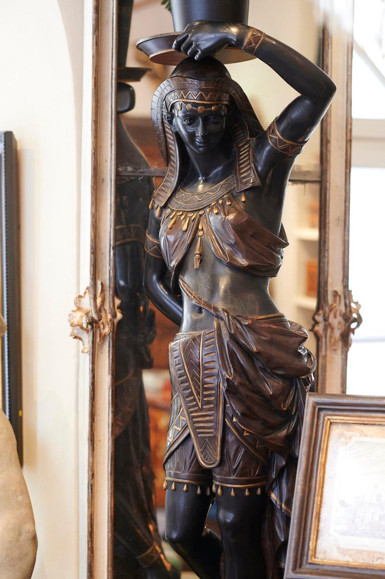 Large Guéridon Sculpture of an Egyptian Woman, Venice C. 1865, Italy For Sale 1