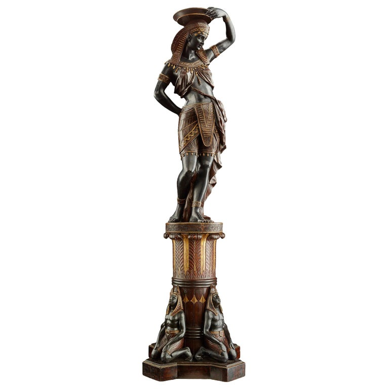 Large Guéridon Sculpture of an Egyptian Woman, Venice C. 1865, Italy For Sale