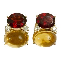Large GUM DROP Clip Earrings with Garnet and Cabochon Citrine and Diamonds