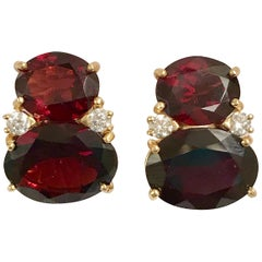 Large GUM DROP Earrings with Faceted Garnet and Diamonds Clip or Pierced