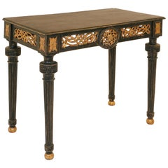 Large Gustavian Blackpainted Console Table, Woodcut with Original Gilding