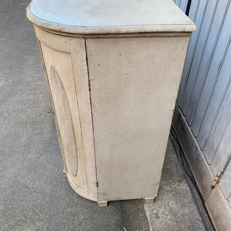Large Gustavian Carved And Gray Painted Wood Sideboard Buffet For Sale 9