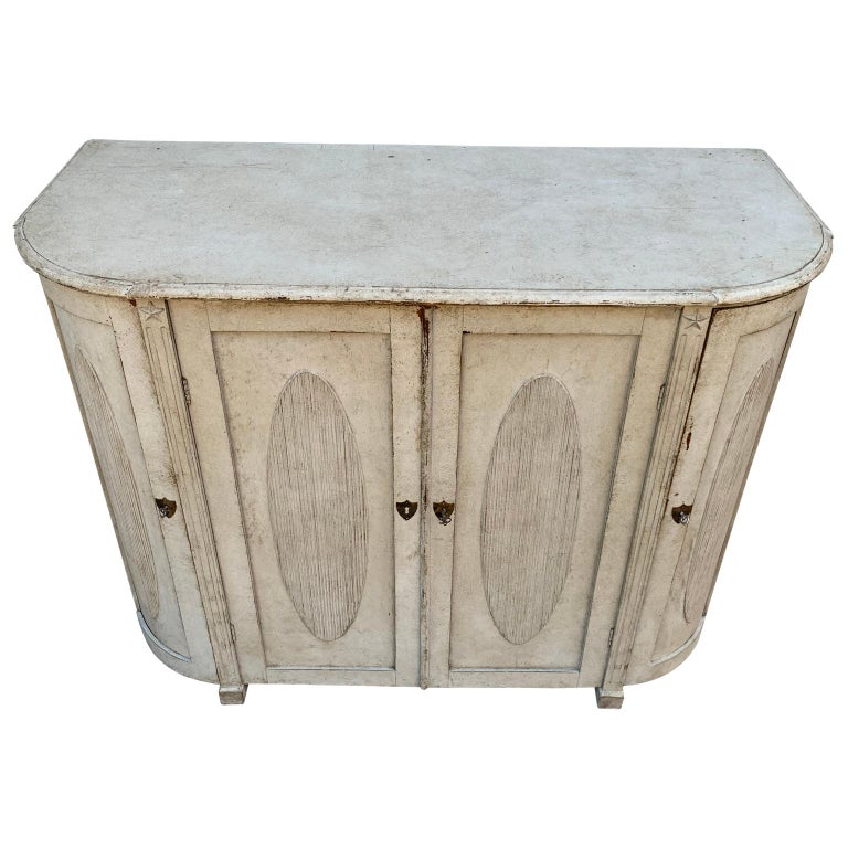 Swedish Large Gustavian Carved And Gray Painted Wood Sideboard Buffet For Sale