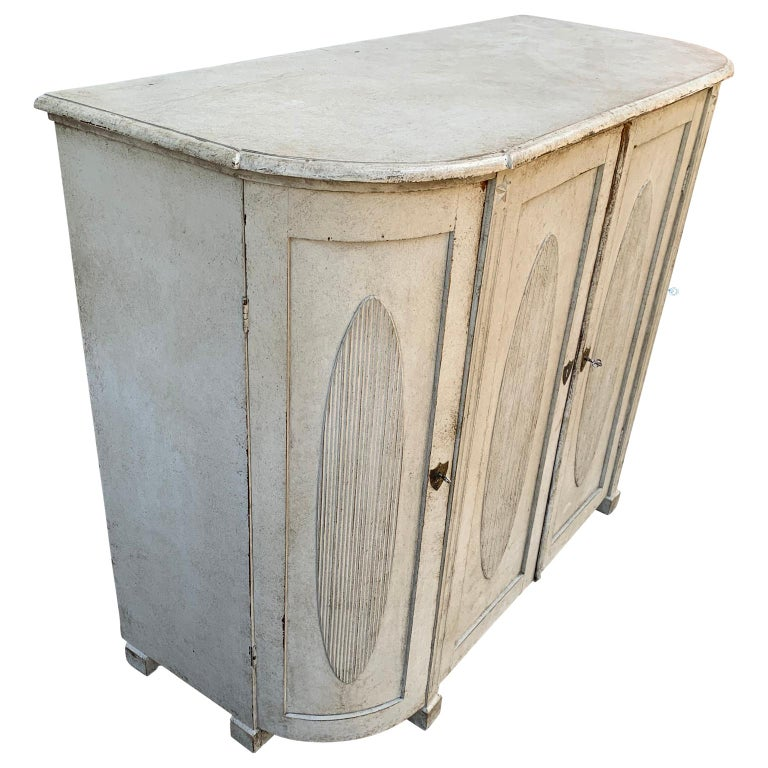 19th Century Large Gustavian Carved And Gray Painted Wood Sideboard Buffet For Sale