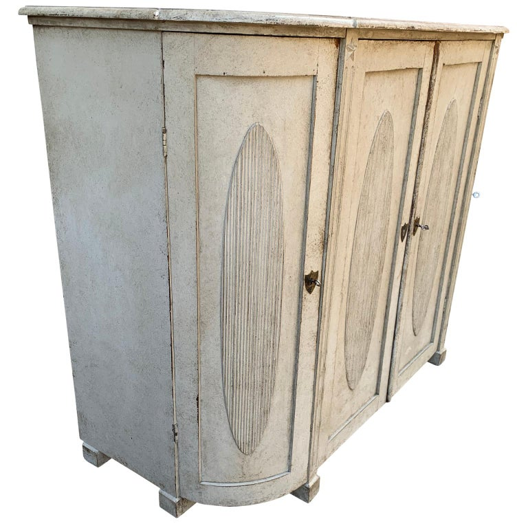 Brass Large Gustavian Carved And Gray Painted Wood Sideboard Buffet For Sale