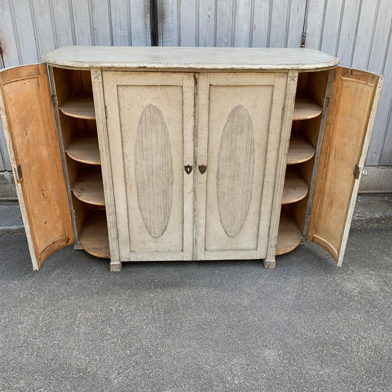 Large Gustavian Carved And Gray Painted Wood Sideboard Buffet For Sale 3