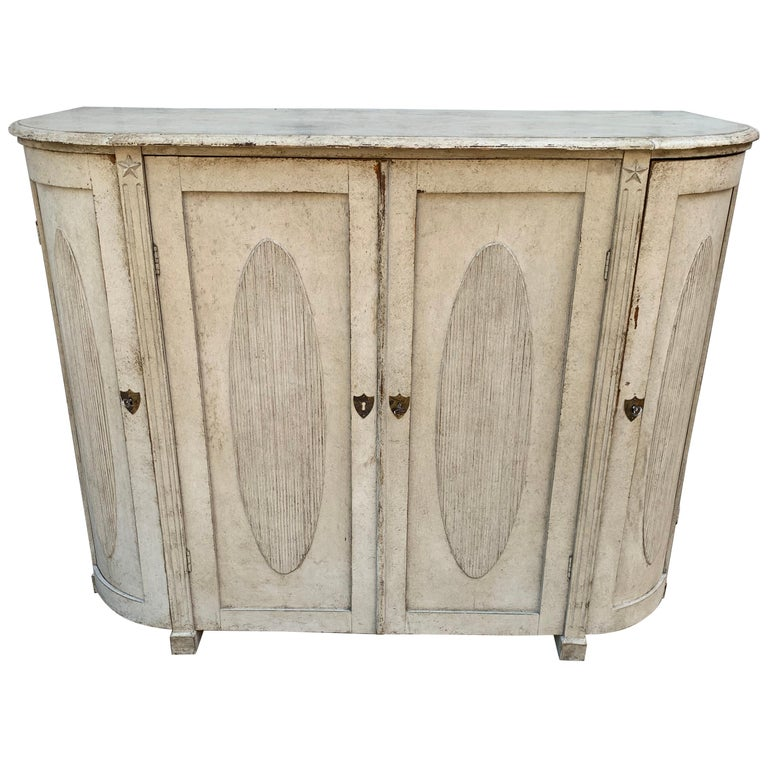 Large Gustavian Carved And Gray Painted Wood Sideboard Buffet For Sale