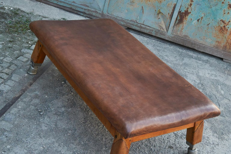 Czech Large Gymnastics Leather Bench Table 1930s, Exclusive For Sale