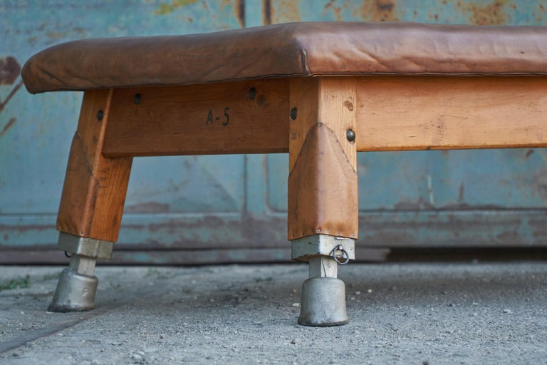 20th Century Large Gymnastics Leather Bench Table 1930s, Exclusive For Sale