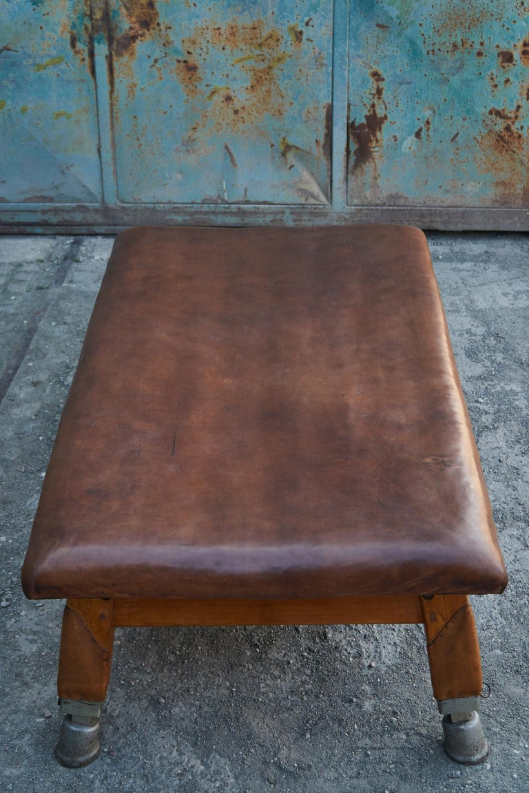 Large Gymnastics Leather Bench Table 1930s, Exclusive For Sale 3