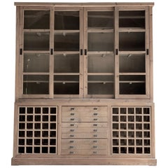 Large Haberdashery Display Cabinet Pantry Bookcase Sideboard Pine, 20th Century