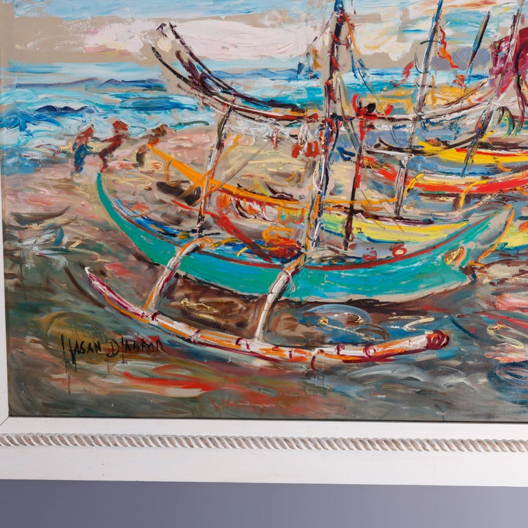 North American Large Haitian Impressionistic Oil on Canvas Boat Harbor by Has An Djaafar, c1940 For Sale