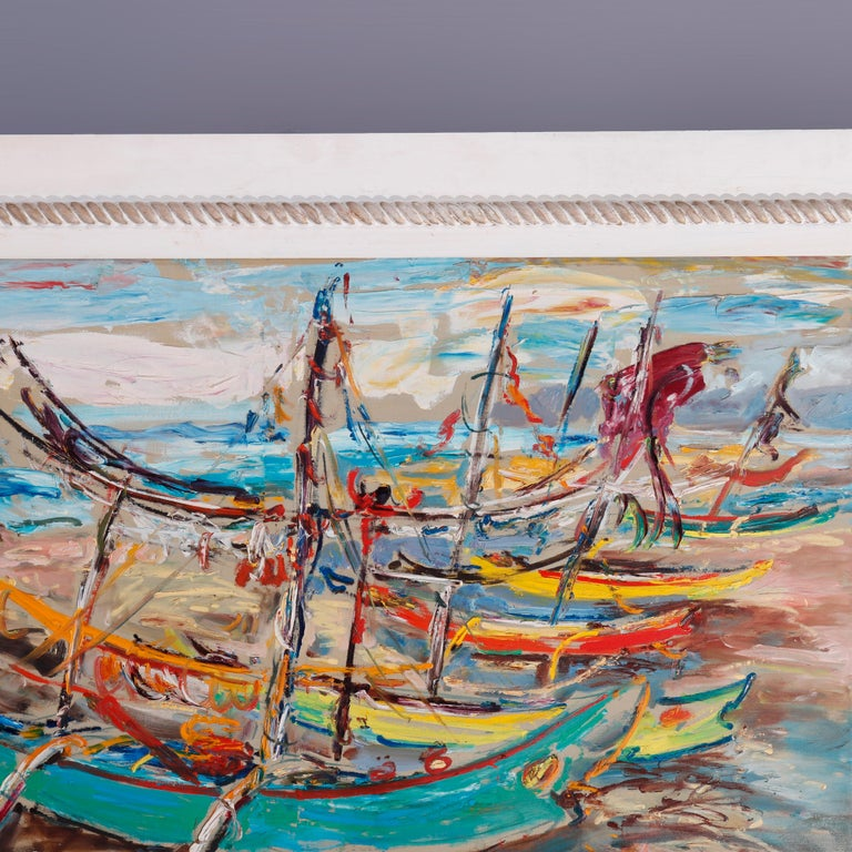Hand-Painted Large Haitian Impressionistic Oil on Canvas Boat Harbor by Has An Djaafar, c1940 For Sale