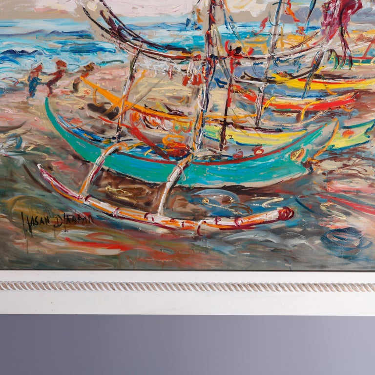 Large Haitian Impressionistic Oil on Canvas Boat Harbor by Has An Djaafar, c1940 In Good Condition For Sale In Big Flats, NY