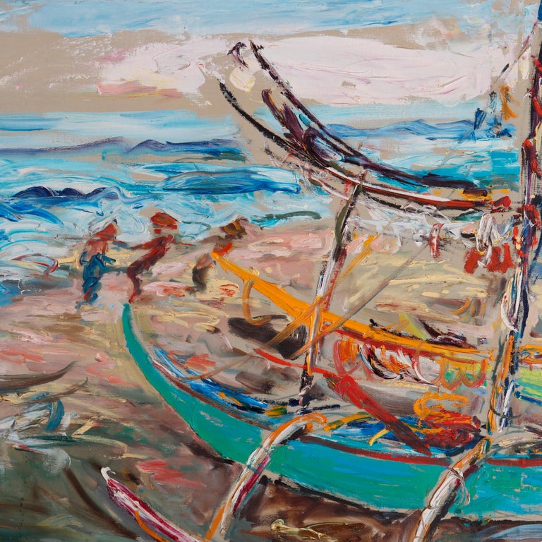 20th Century Large Haitian Impressionistic Oil on Canvas Boat Harbor by Has An Djaafar, c1940 For Sale