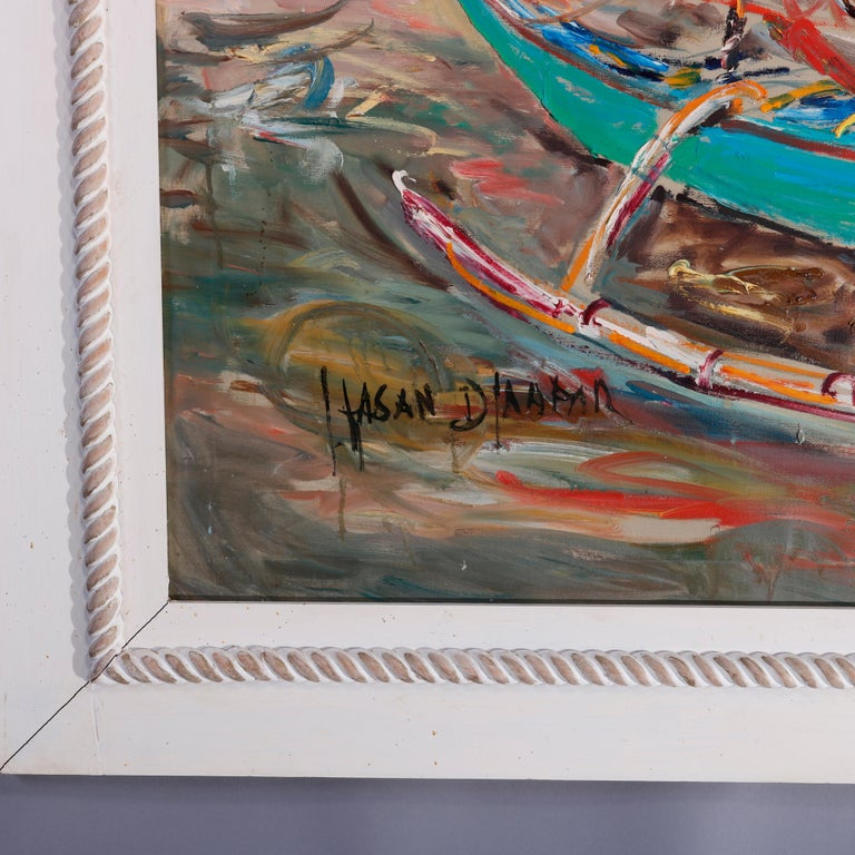 Wood Large Haitian Impressionistic Oil on Canvas Boat Harbor by Has An Djaafar, c1940 For Sale
