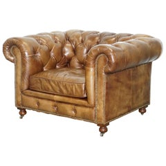Large Halo Kingston Vintage Aged Brown Leather Club Armchair with Castors
