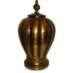 Large Hammered Brass Table Lamp