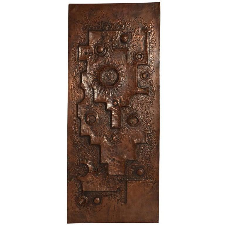 Large Hammered Copper Brutalist Wall or Door Panel, 1960s