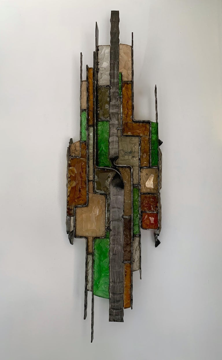 Brutalist Large Hammered Glass Sconce by Longobard, Italy, 1970s For Sale