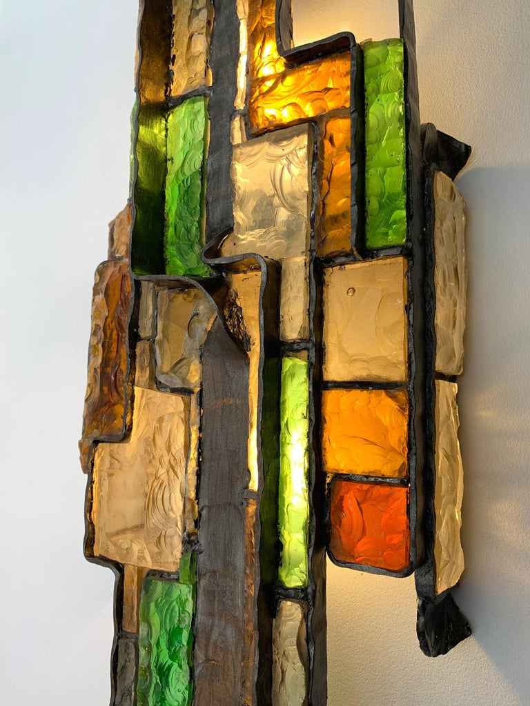 Wrought Iron Large Hammered Glass Sconce by Longobard, Italy, 1970s For Sale