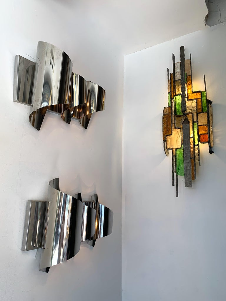 Large Hammered Glass Sconce by Longobard, Italy, 1970s For Sale 1